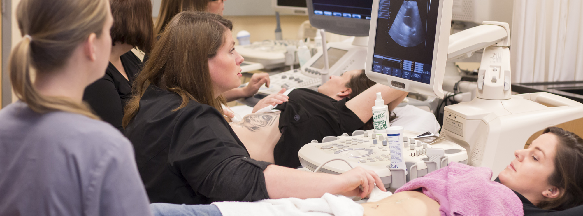 Sonography students in lab