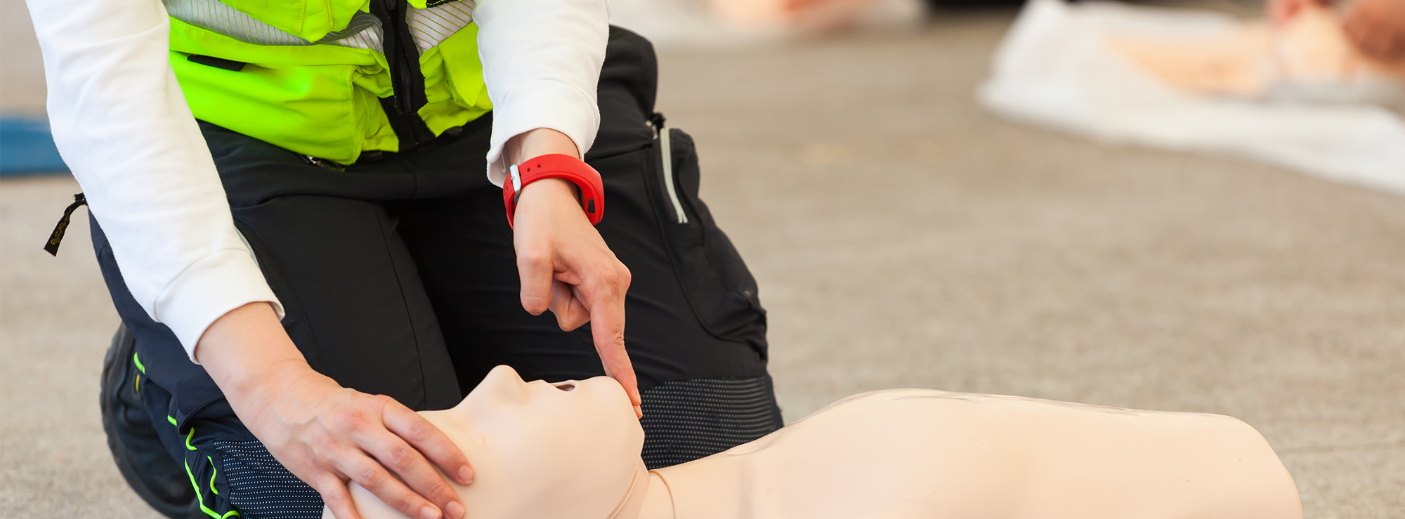 CPR dummy and EMS worker