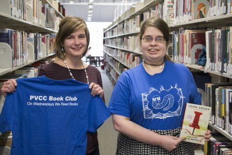 Book Club member with club T-shirts