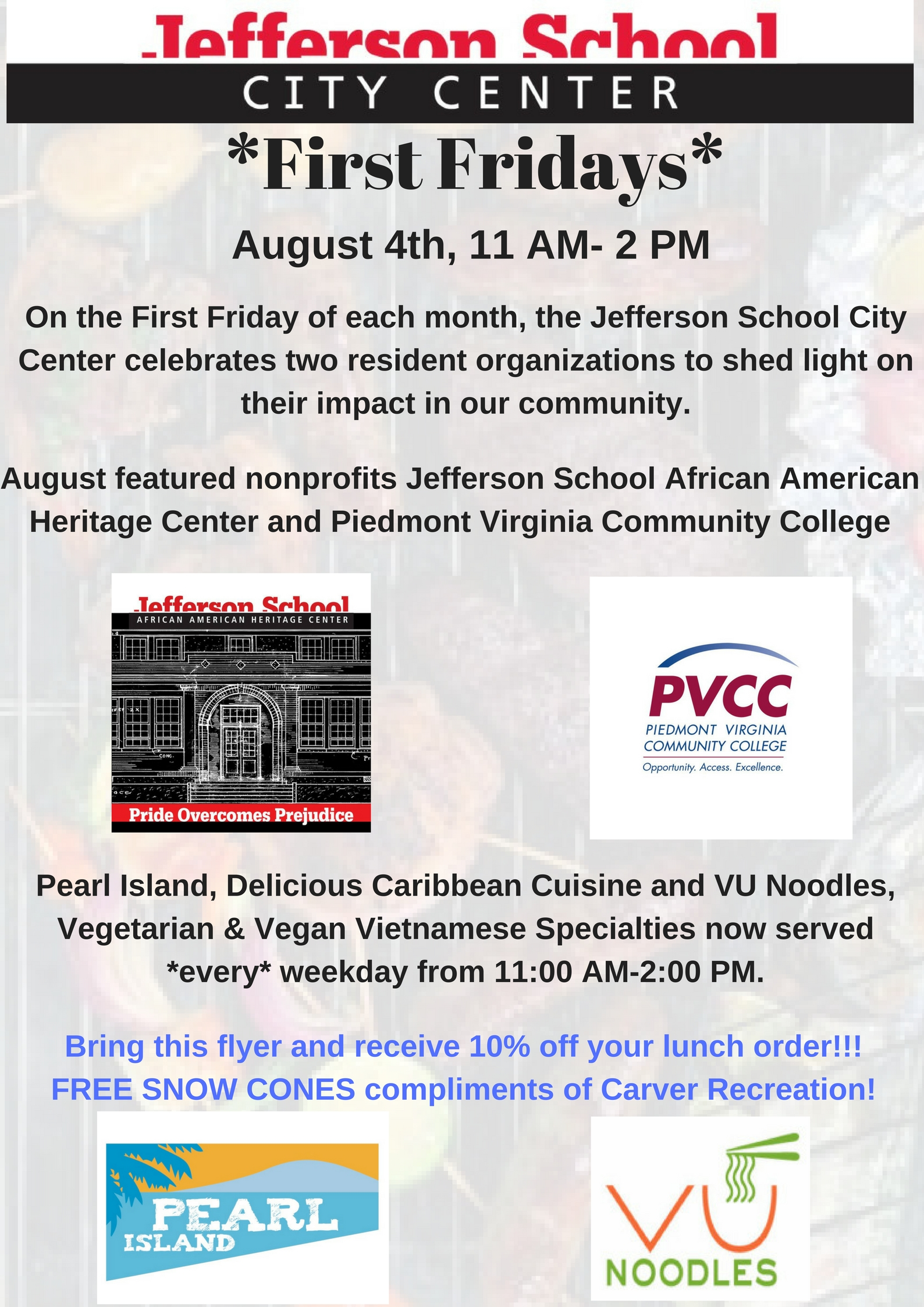 Friday August 1st Free Community >> Pvcc To Be Featured At Jscc First Fridays August 4 News Piedmont